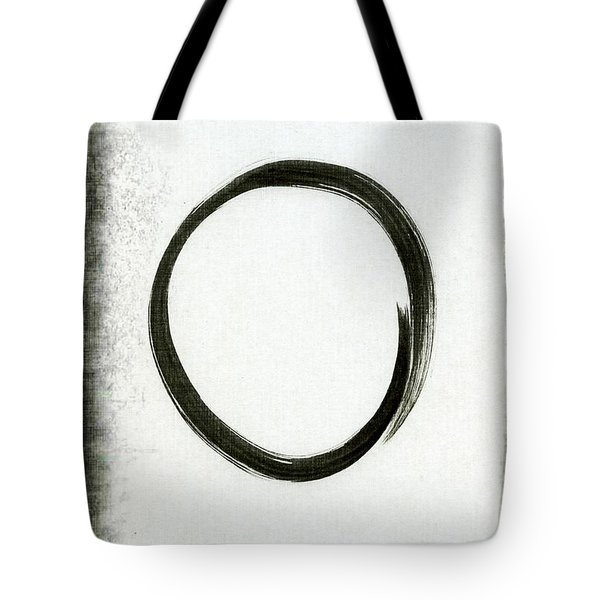 Enso #2 - Zen Circle Abstract Black And Red Tote Bag