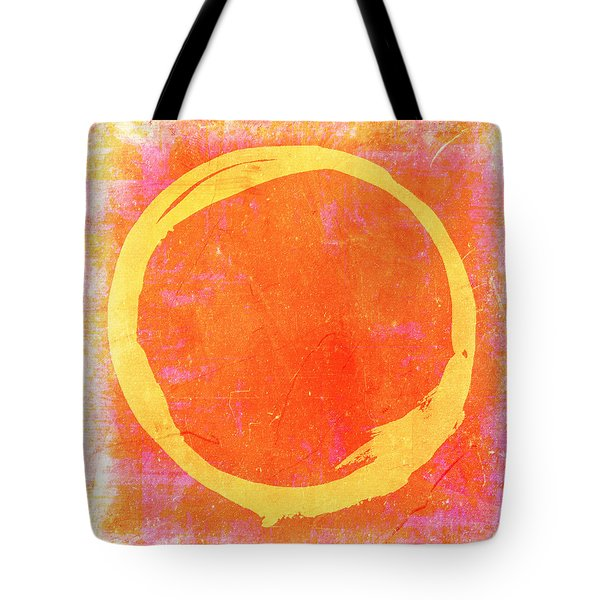 Enso No. 109 Yellow On Pink And Orange Tote Bag