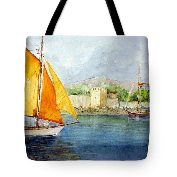 Entering The Port - Foca Izmir Tote Bag by Faruk Koksal