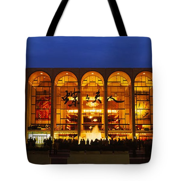 Entertainment Building Lit Up At Night Tote Bag
