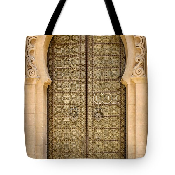 Entrance Door To The Mausoleum Mohammed V Rabat Morocco Tote Bag by Ralph A  Ledergerber-Photography