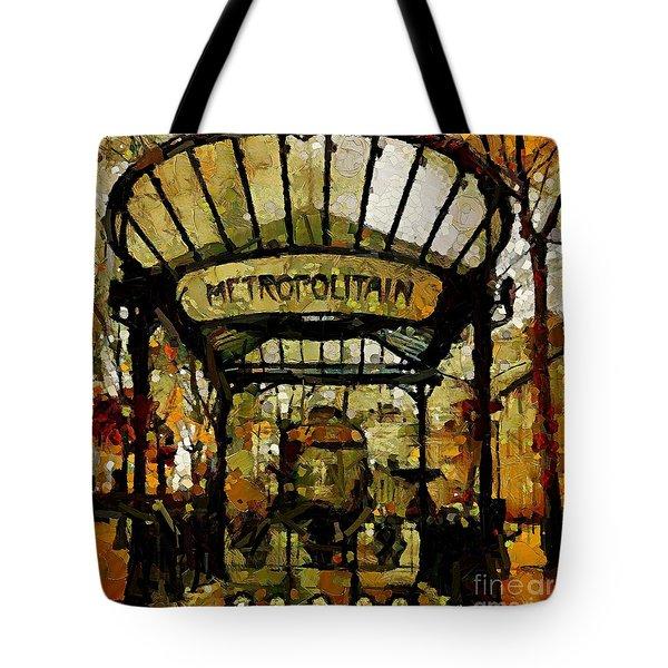 Entrance To The Paris Metro Tote Bag