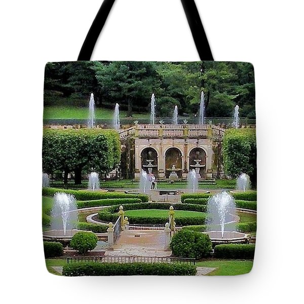 Entry Fountains At Longwood Gardens Tote Bag by Kim Bemis