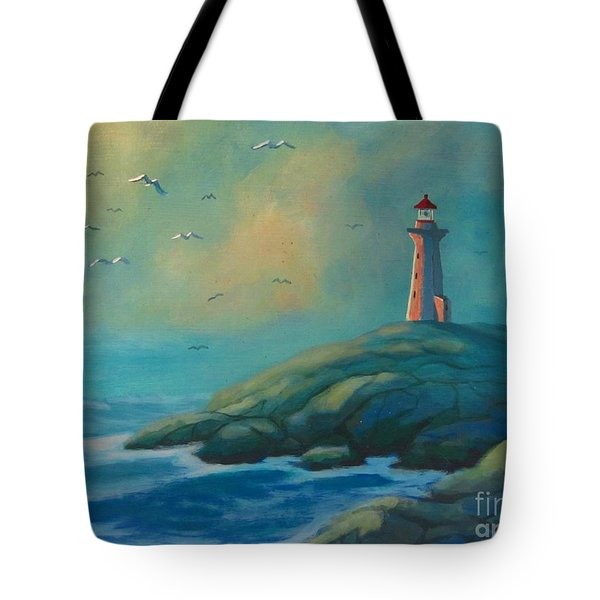 Envisioning Peggys Cove Lighthouse Tote Bag by John Malone