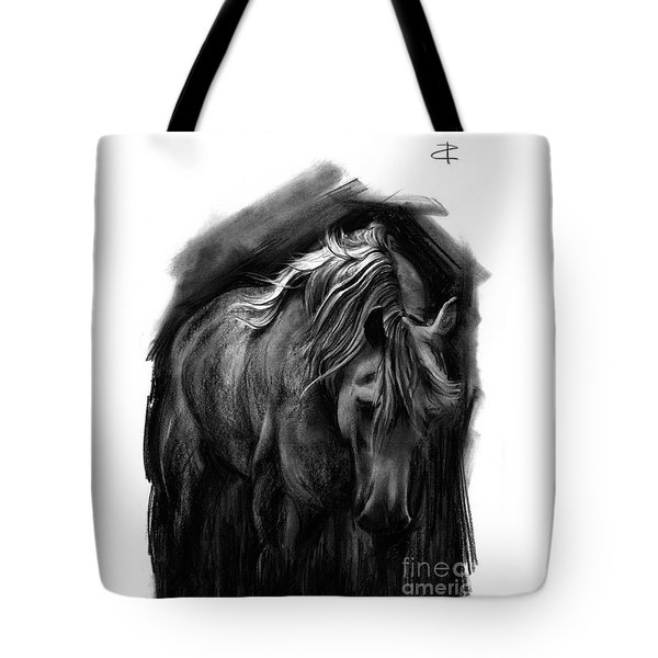 Tote Bag featuring the drawing Equine 1 by Paul Davenport