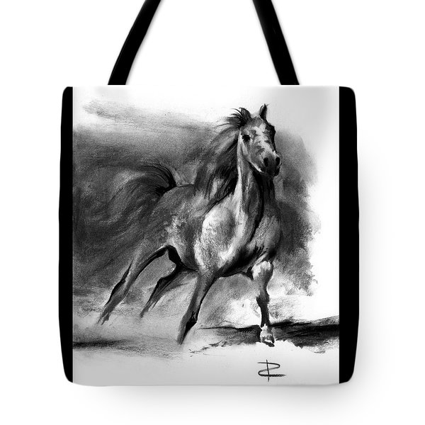 Tote Bag featuring the drawing Equine II by Paul Davenport