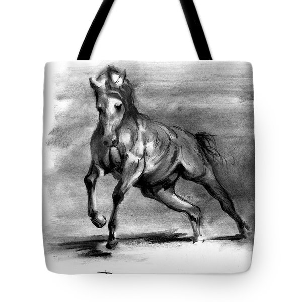 Tote Bag featuring the drawing Equine IIi by Paul Davenport