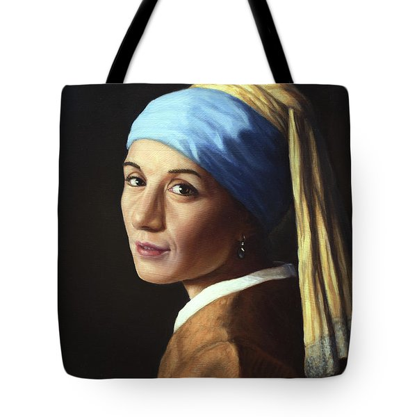 Erika With A Pearl Earring Tote Bag