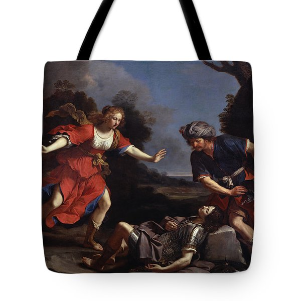 Erminia Finding The Wounded Tancredi Oil On Canvas Tote Bag