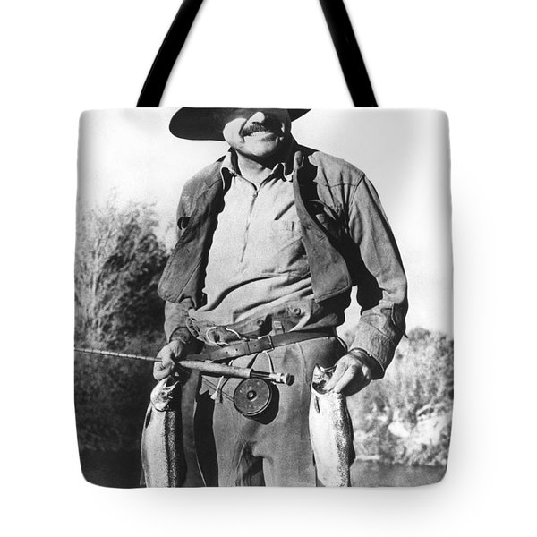 Ernest Hemingway Fishing Tote Bag by Underwood Archives