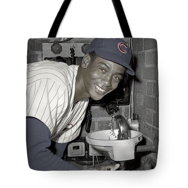 Ernie Banks At Cubs Water Fountain Tote Bag by Martin Konopacki Restoration