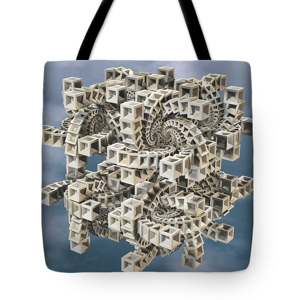 Tote Bag featuring the digital art Escher's Construct by Manny Lorenzo