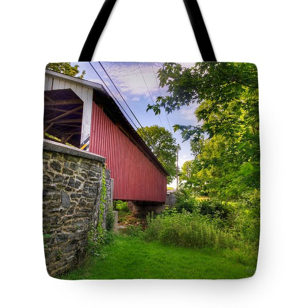 Tote Bag featuring the photograph Eshelman's Mill Covered Bridge by Jim Thompson