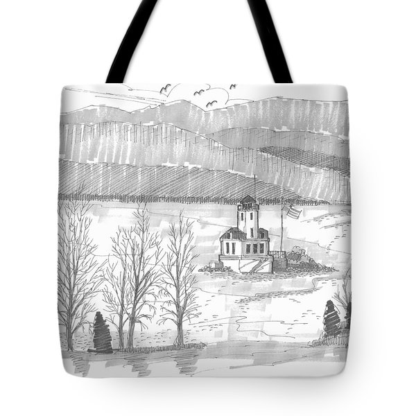 Tote Bag featuring the drawing Esopus Lighthouse by Richard Wambach