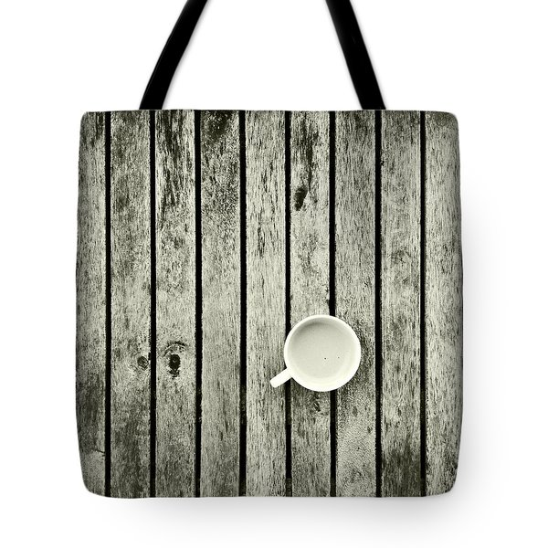 Espresso On A Wooden Table Tote Bag