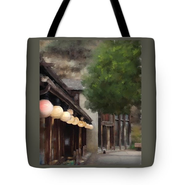 Tote Bag featuring the painting Estes Park Downtown by Patricia Lintner