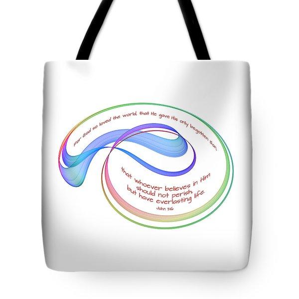 Eternal Life Fractal On White Tote Bag