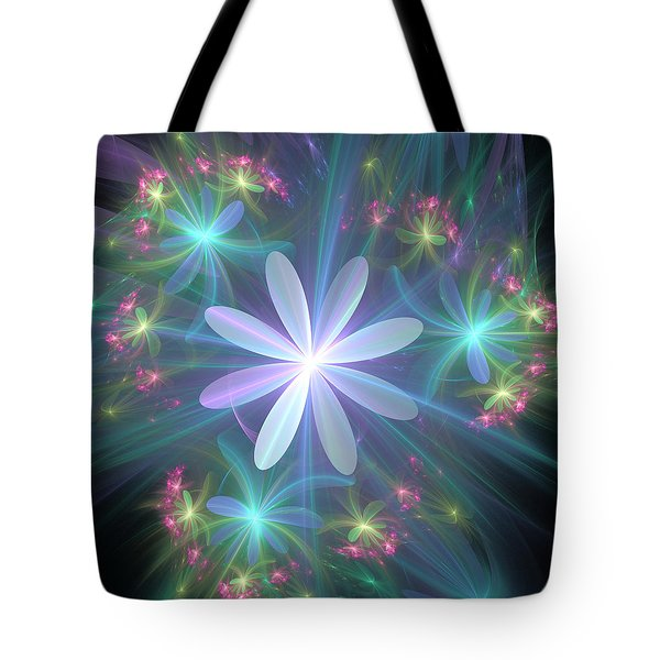 Tote Bag featuring the digital art Ethereal Flower In Blossom by Svetlana Nikolova