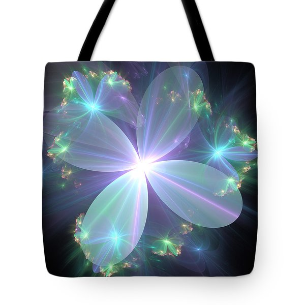Tote Bag featuring the digital art Ethereal Flower In Blue by Svetlana Nikolova
