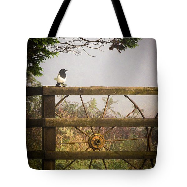 Eurasian Magpie In Morning Mist Tote Bag