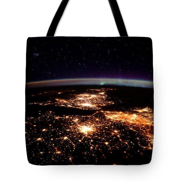 Europe At Night, Satellite View Tote Bag