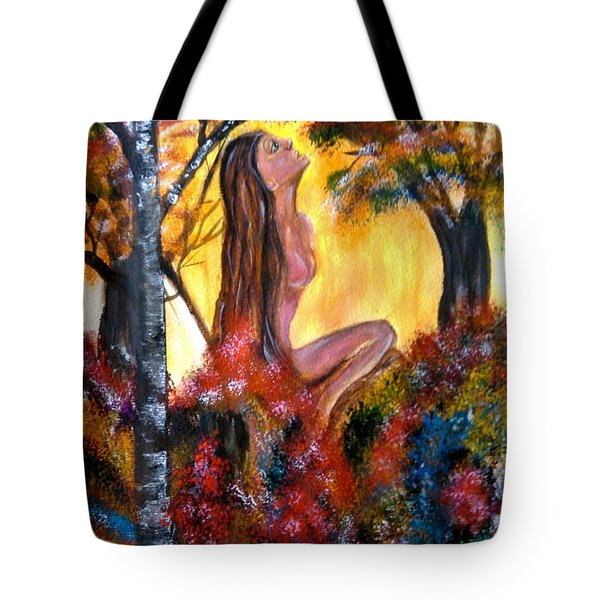 Tote Bag featuring the painting Eve In The Garden by Lori  Lovetere