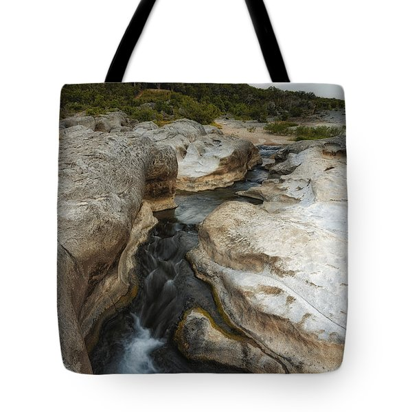 Even Flow At The Pedernales Texas Hill Country Tote Bag by Silvio Ligutti
