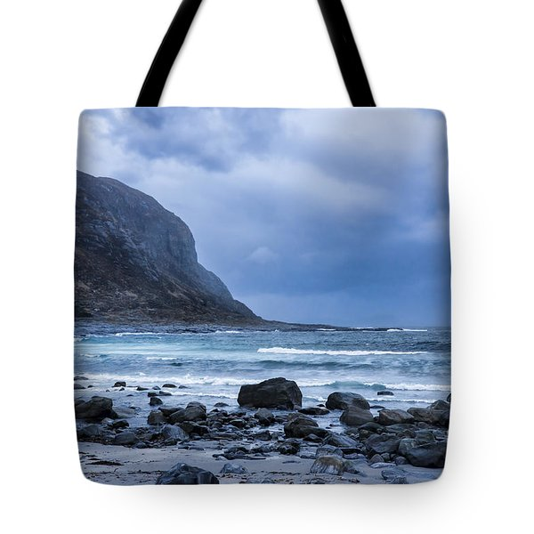 Evening At The Seaside In Rain Tote Bag