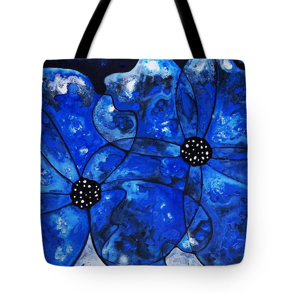 Evening Bloom Blue Flowers By Sharon Cummings Tote Bag by Sharon Cummings