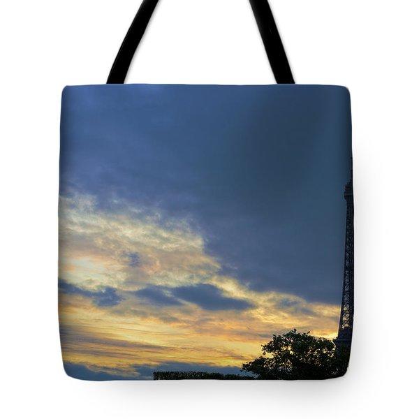 Evening By The Eiffel Tower Tote Bag by Maj Seda