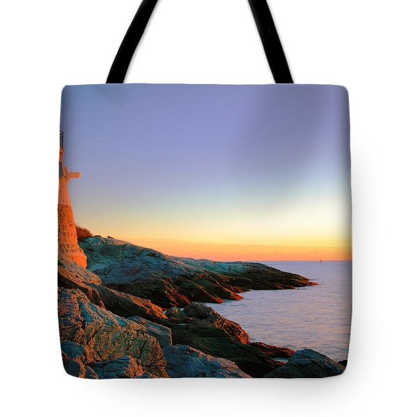 Evening Calm At Castle Hill Lighthouse Tote Bag by Roupen  Baker