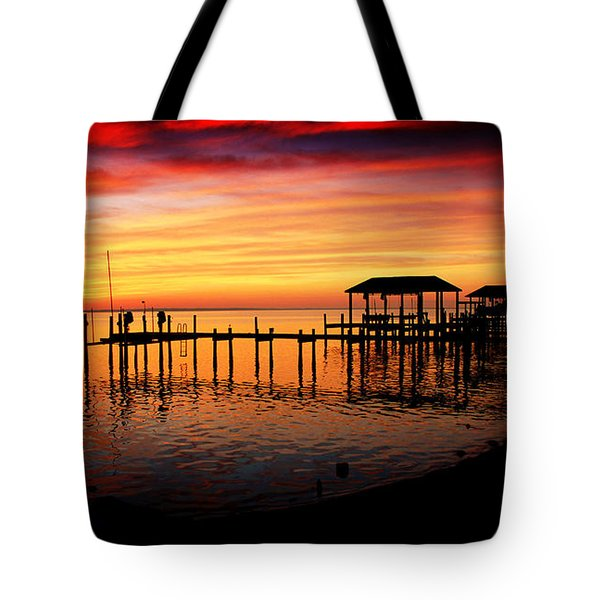 Evening Enchantment At The Hilton Pier Tote Bag