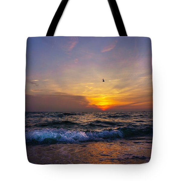 Tote Bag featuring the photograph Evening Flight by Dmytro Korol