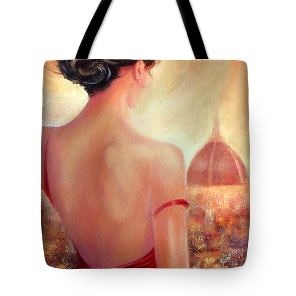 Tote Bag featuring the painting Evening In Florence by Michael Rock