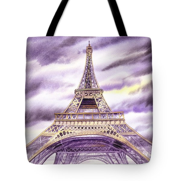 Evening In Paris A Walk To The Eiffel Tower Tote Bag