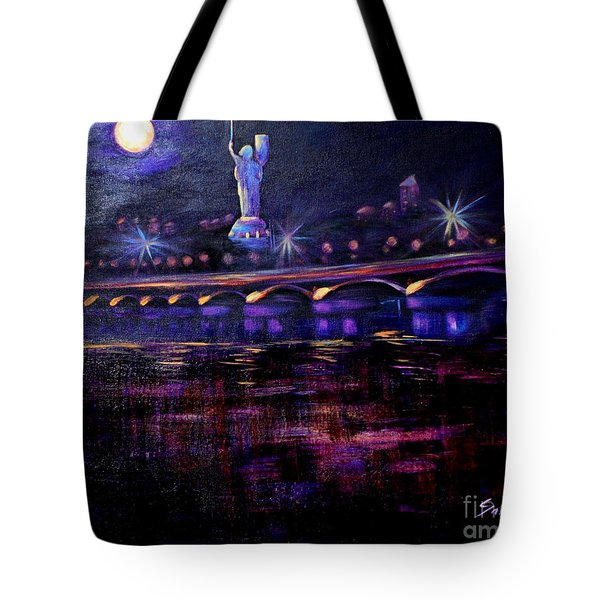 Evening Kiev. Paton Bridge Tote Bag