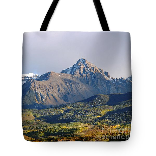 Evening Light On The Sneffels Range Tote Bag by Alex Cassels