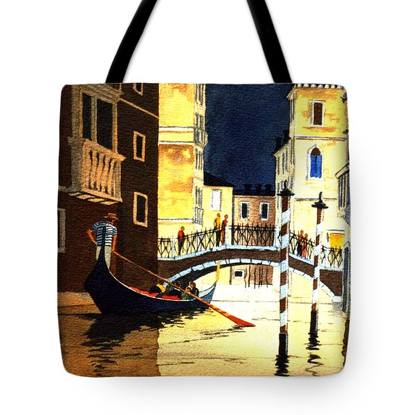 Tote Bag featuring the painting Evening Lights - Venice by Bill Holkham