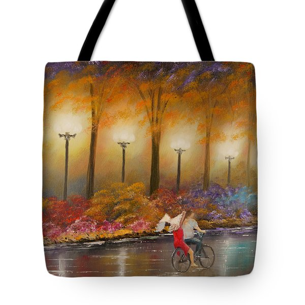 Tote Bag featuring the painting Evening Ride by Chris Fraser