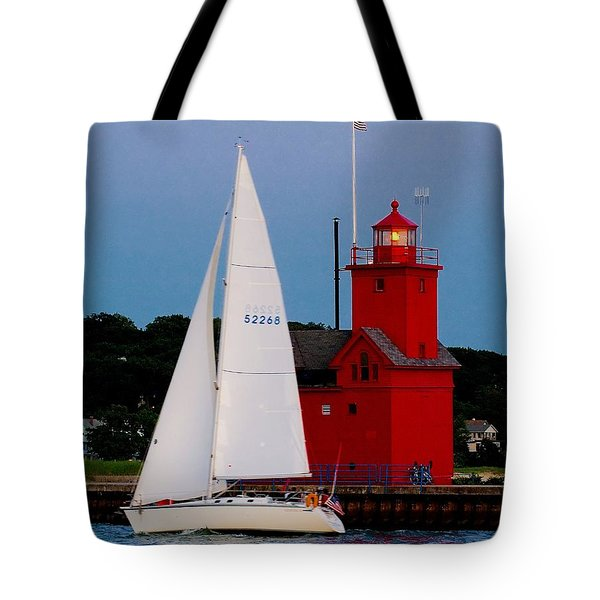 Evening Sail At Holland Light Tote Bag by Nick Zelinsky