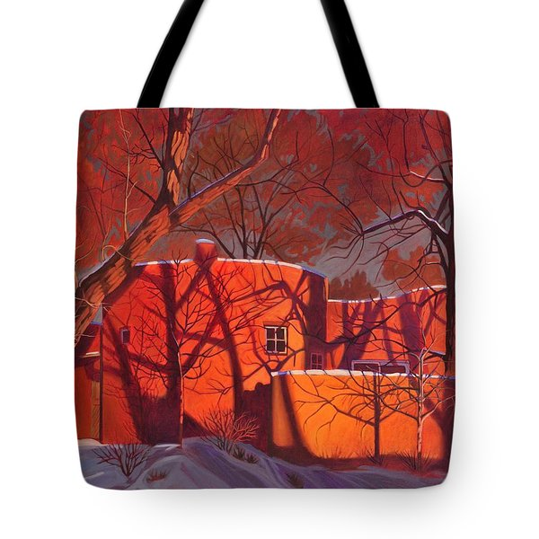 Evening Shadows On A Round Taos House Tote Bag by Art James West