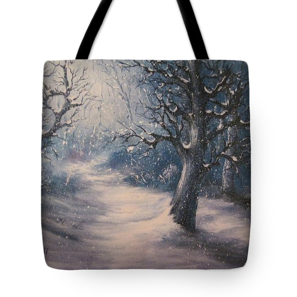 Evening Snow Tote Bag by Megan Walsh