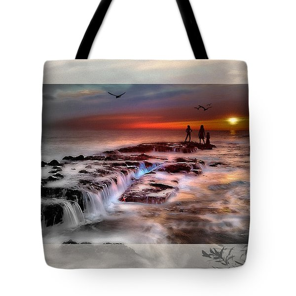 Evening Stroll At The Beach -featured In 'cards For All Occasions'comfortable Art'  'digital Veil Tote Bag by EricaMaxine  Price