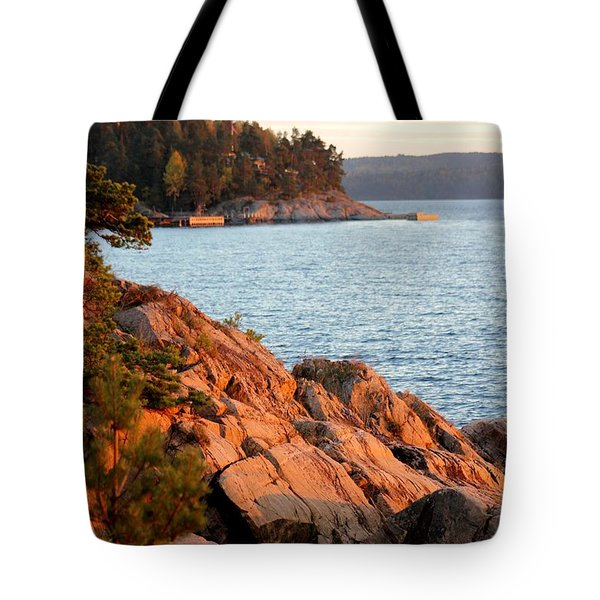 Evening Sun By The Waterfront Tote Bag