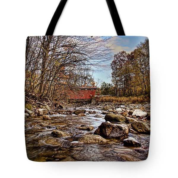 Everett Rd Covered Bridge Tote Bag by Jack R Perry