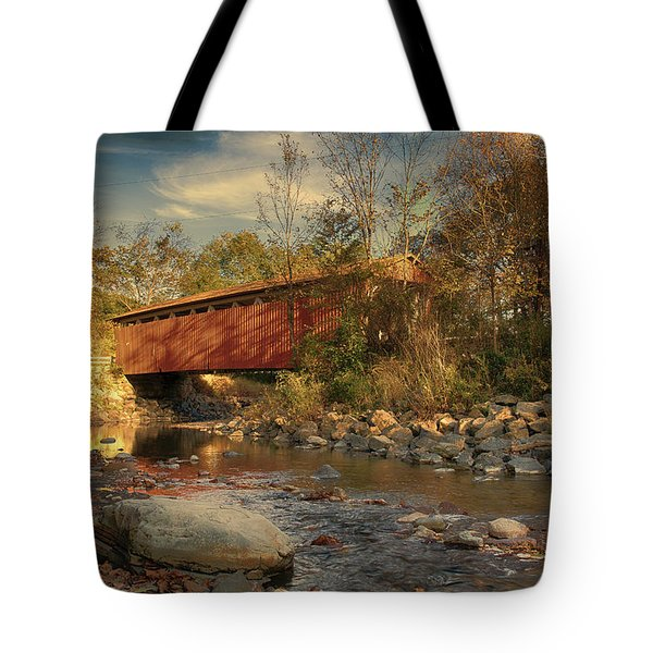 Everett Rd Summit County Ohio Covered Bridge Fall Tote Bag