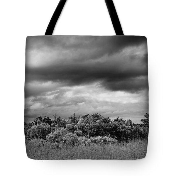Everglades Storm Bw Tote Bag by Rudy Umans