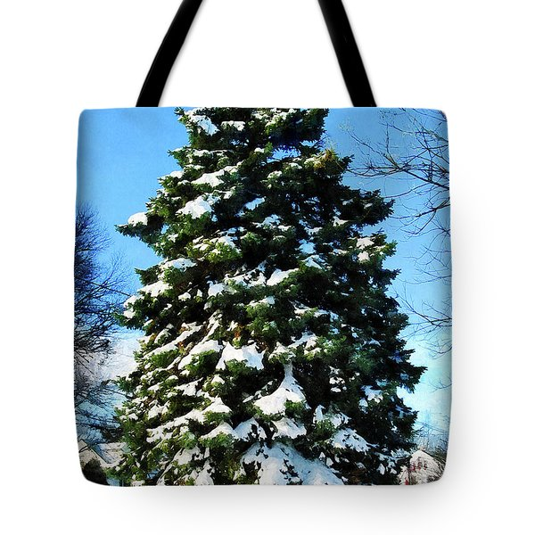 Evergreen In Winter Tote Bag by Susan Savad