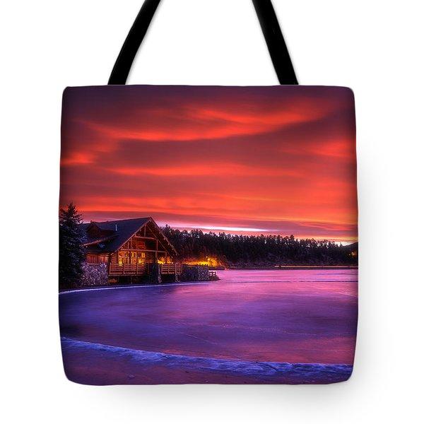Evergreen Lake Sunrise Tote Bag