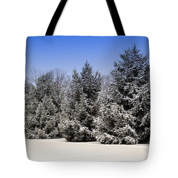Evergreen Trees In Winter Tote Bag